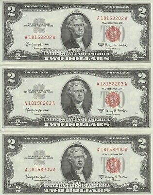 Lot of 3 1963A $2 Consecutive Two Dollar Bill Red Seal US Note