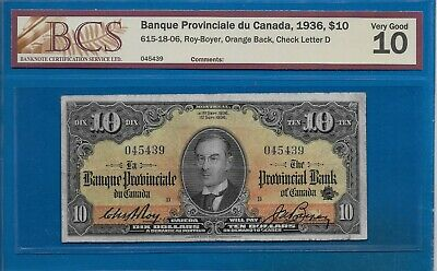 1936 - $10.00 The Provincial Bank Of Canada Graded Bcs Vg-10 (Scarce)