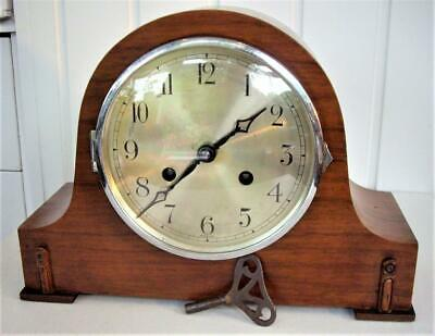 Walnut Striking 8-Day Mantel Clock - Working Well