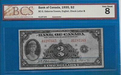 1935 - $2.00 From The Bank Of Canada Graded Bcs Vg-8