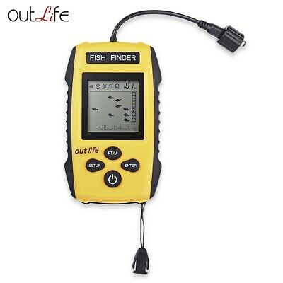 Outlife 0.7 - 100M 200KHz Fish Finder Sonar Alarm Transducer