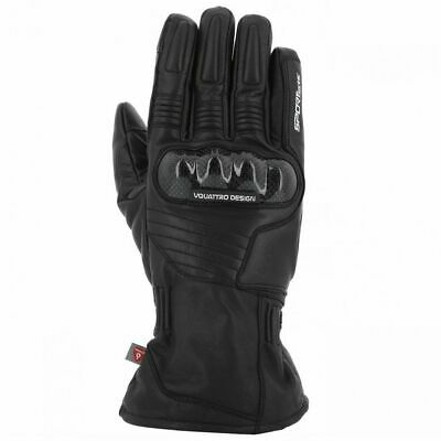 Vquattro Leather Motorcycle Gloves TYPHOON Black - Gants V Quattro - WATERPROOF