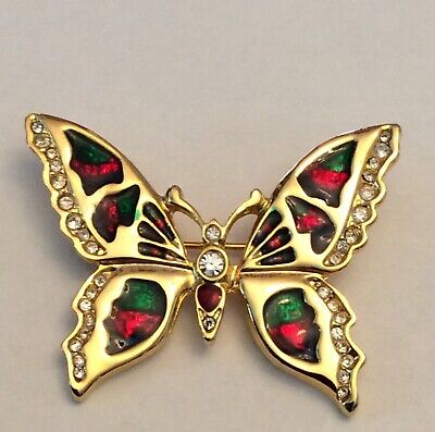 Vintage signed rhinestone and stained glass look butterfly brooch