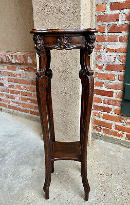TALL Antique French Country Carved Shell Oak PLANT STAND Display Two Tier Table