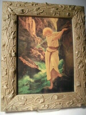 Vintage Copy of The Maxfield Parrish The Canyon 1924 Print in Rare Antique Frame