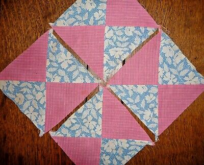 Antique Vintage Lot of 4  YANKEE PUZZLE Quilt Blocks  c.1930's-Crisp