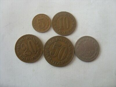 Lot Of 5 Yugoslavia Coins 5 Para- 1 Dinar 1965