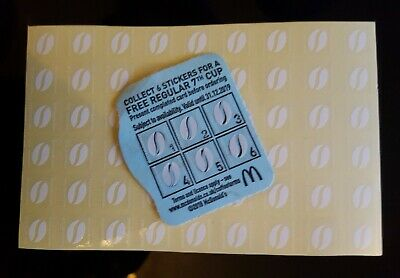 60 Mcdonalds coffee bean stickers - 10 hot drinks . Dec 2019 Mccafe .