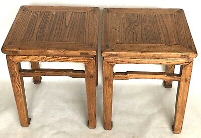 Pair of 2 Antique Chinese Square End Table Wood Ming Meditation Bench 1800- 1849