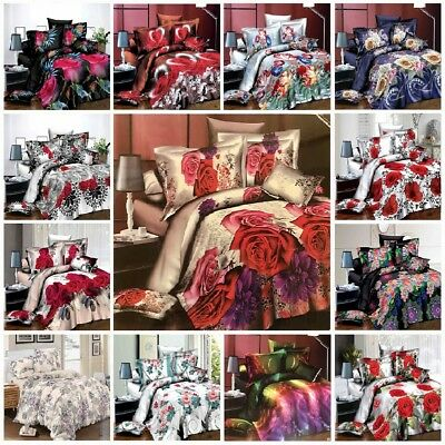 3D Effect Duvet Quilt Cover Bedding Sets with Pillow Cases + Free Fitted Sheet
