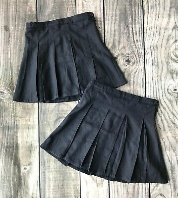 5d10595da TWO Lands End Girl Small 7 8 7/8 Skirt Chico School Uniform Navy Pleated
