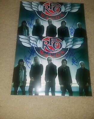 REO SPEEDWAGON HAND SIGNED 8x10 PHOTO 4 out of 5 AUTHENTIC RARE AUTOGRAPHED