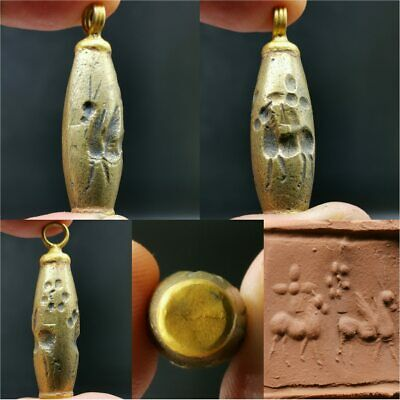 Old bronze intaglio Lovely Bead Made as gold plated pendant    #38
