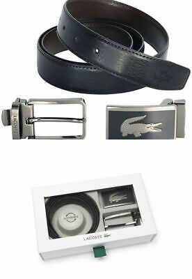 a2e8df0c9c Lacoste Men's Reversible Leather Belt with 2 buckle - Gift Box --- Black /
