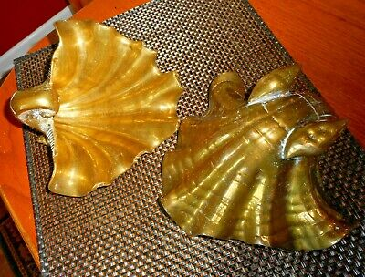 Vintage Brass SEASHELL Solid ~ SET 2 ~ Footed Trinket Dish Nautical DECOR WOW
