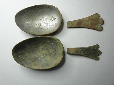 TREFID TIN BRONZE 16th-17th CENTURY SPOON BOWLS & HANDLE PARTS WITH MAKERS MARK