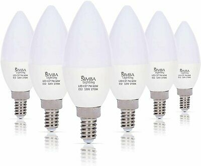 [6 Pack] LED Candelabra B11 C37 Bulb 7W 60W Replacement E12 Base 120V 2700K Warm