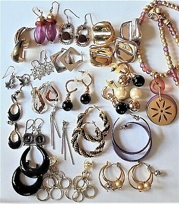 Lot of 19 Pair PIERCED EARRINGS & 1 NECKLACE - Some Vintage Some NEVER WORN