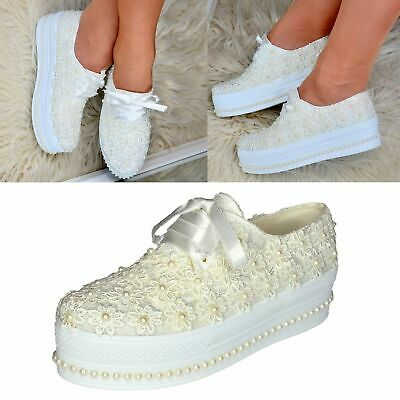 Ladies Bridal Flat Platform Shoes Wedding Floral Satin Lace Pearls Trainers size