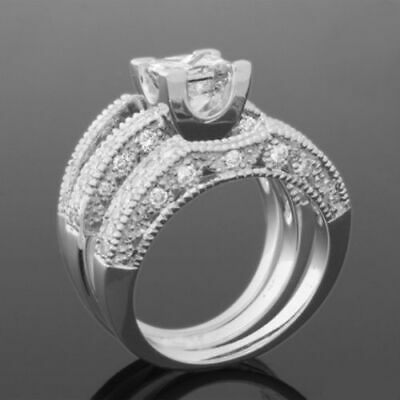 Vs2 Ornate Vintage Style Women 18 Kt White Gold Diamond Ring Bands Set 2 Carats