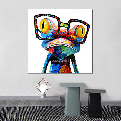 Canvas Oil Painting Poster Print Photo Color Glasses Frog Home Art Wall 23x23in