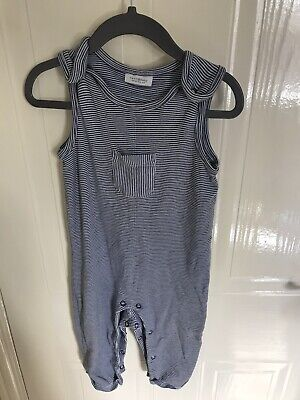 Next Baby Boy Navy Blue Striped Dungarees Play Suit Next