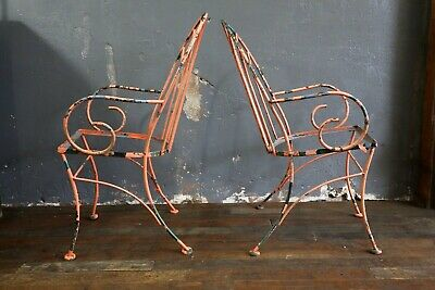 Vintage Wrought Iron Chairs Pink and Green Patio Porch Loft Farmhouse Decor RARE