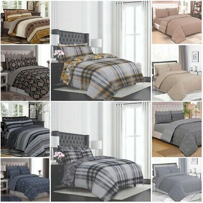 100% Egyptian Cotton Duvet Cover Bedding Set with Pillow Cases & Fitted Sheet