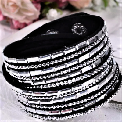 Double Wrap Multi Strand Pave Crystal Slake made with Swarovski Elements Black