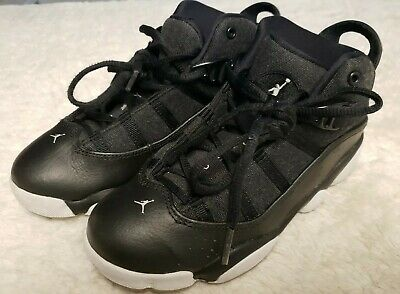 Boys Air Jordan 6 Rings Basketball Shoes 323432-021, Black & White, Youth Size 2