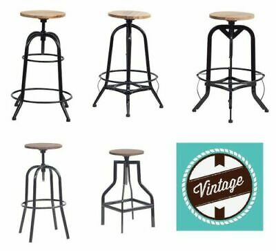Vintage Rustic Metal Tolix Industrial Bar Stool Kitchen Pub Wood Top Shabby Chic
