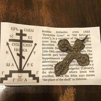 Medieval Cross Pendant Byzantine Russian Artifact Calvary Orthodox Jesus Old J