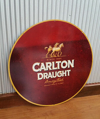 Large Round Carlton Draught Metal tin sign Man cave bar Garage Beer Brewery