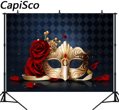Classy Carnival Photography Background Party Red Rose Golden Mask Photo Backdrop
