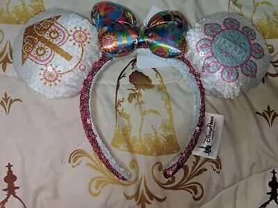 Disney Parks Minnie Mouse Ears Small World Bow Sequined Headband NWT