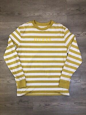 8cbbe66b6a Guess Los Angeles T Shirt Striped Long Sleeve White Mustard Yellow Gold Men  Sz M