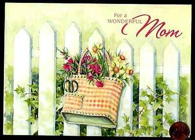 Birthday Mom Mother Picket Fence Basket Flowers EMBOSSED Birthday Greeting Card