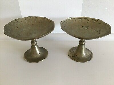 Vintage Pair Solid Brass Etched Bowls/Dishes - Made In China.