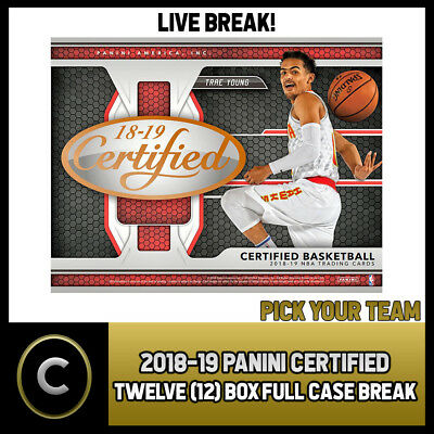 2018-19 Panini Certified Basketball 12 Box Case Break #B171 - Pick Your Team