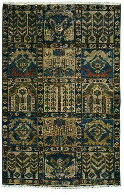 Unique ANtique Hand-Knotted Oriental Geometric Wool Vintage Distressed Beige Rug