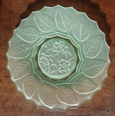 Bagley green depression glass roses plate