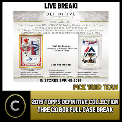 2019 Topps Definitive Collection 3 Box (Full Case) Break #A322 - Pick Your Team