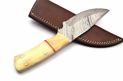 Custom Twist Damascus Steel Clip Point Skinner Knife FF12 Asian Camel Bone Handl