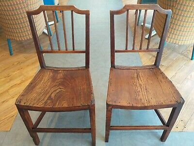 GEORGIAN era  c.1770 COUNTRY fruitwood elm chair PAIR CHAIRS antique barrel seat