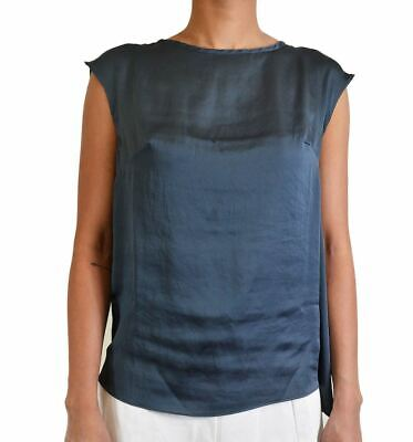 David Lerner Women's Back Slice Blouse Sleeveless Solid Top In Charcoal