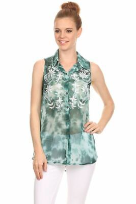 Angie Women's Blouse Spring Summer Tops Tie Dyed Collared Top Sleeveless Green