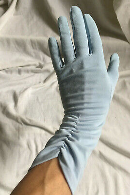 VINTAGE 1960s Light Blue Ruched Ruffled OPERA LONG GLOVES Size 7