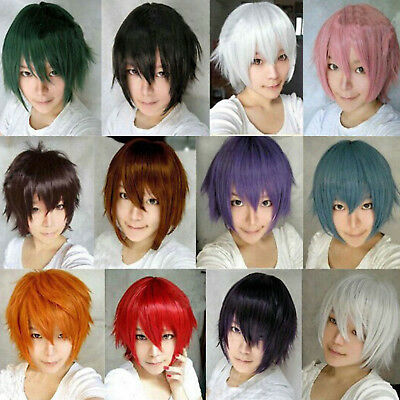 Womens Mens Boys Short Layered Straight Hair Wig Anime Party Curly Cosplay Wigs