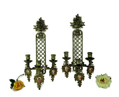Pair French Brass Triple Wall Sconces Candelabras Victorian era Limoges Sevres