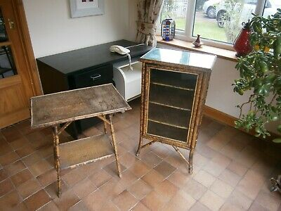 Antique bamboo cabinet and table ideal for conservatory